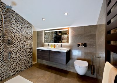 bathroom interior with mosaics
