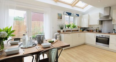 vintage dining table in modern kitchen
