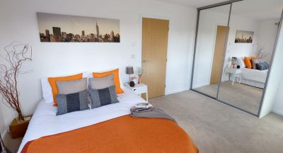 Burnt orange and copper bedroom